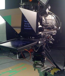 On-camera prompters move with the camera